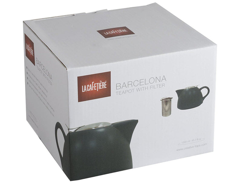 La Cafetiere Barcelona Teapot with Infuser, 1300 ml - Black