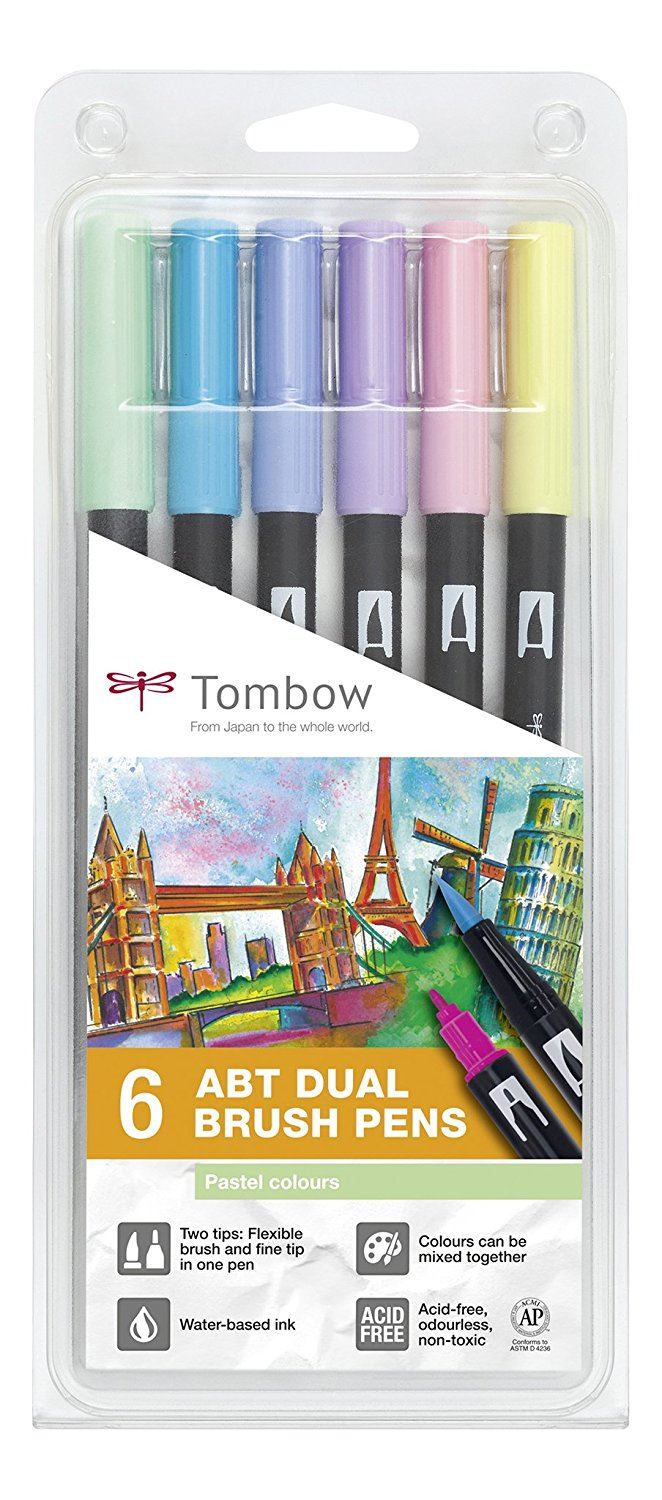 Tombow ABT Dual Brush Pens - 6 Pack - Pastel