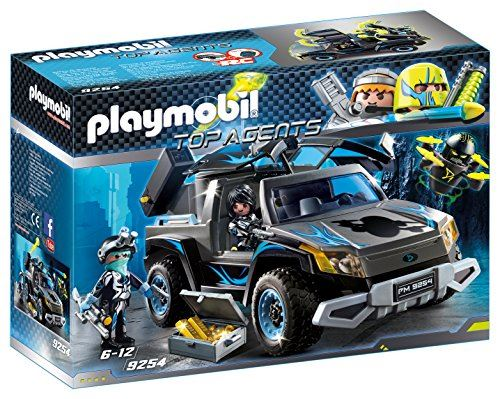 "Playmobil 9254"" Top Agents Dr. Drone's Pickup with Firing Weapons Toy Set"