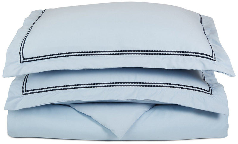 Superior 3000 Series Super Soft and Wrinkle Resistant Microfibre 2-Piece Duvet Cover Set with 2-Line Embroidered Oxford Pillowcase in Gift Box, Single, Light Blue with Navy Blue Embroidery