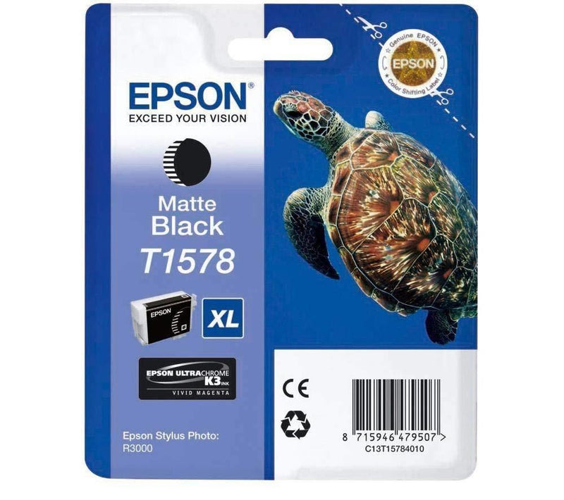 Epson T1578 Print Cartridge, Matte Black, Genuine