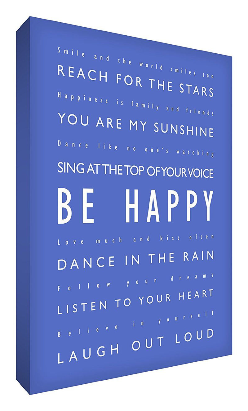 Feel Good Art 36 x 24-inch A1 Be Happy Modern Typographic Thick Box Canvas, Blue