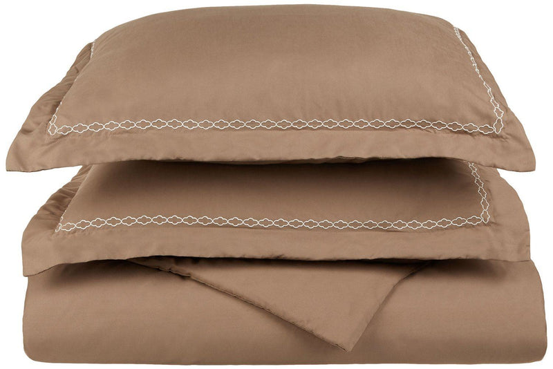 Superior 3000 Series Super Soft and Wrinkle Resistant Microfibre 2-Piece Duvet Cover Set with Cloud Embroidered Oxford Pillowcase in Gift Box, Single, Taupe with Ivory Embroidery