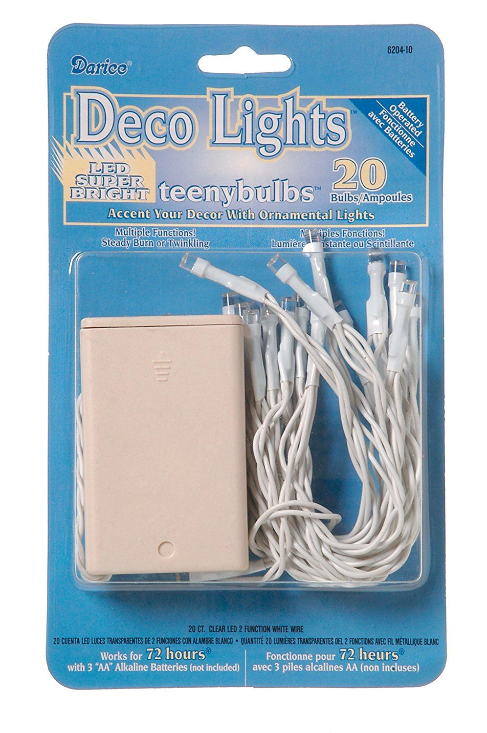 Darice Various Deco Battery Operated Teeny Bulbs-20 Bulbs-Clear Lights, White Cord
