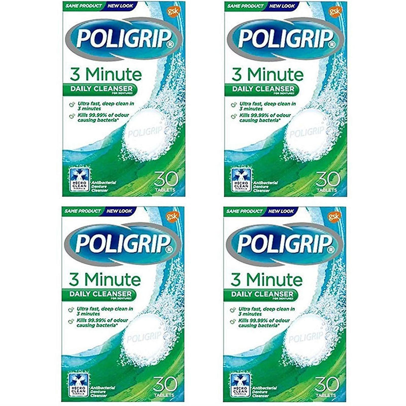 4 x Poligrip Denture 3 Min Ultra Cleansing 30 Tablets
