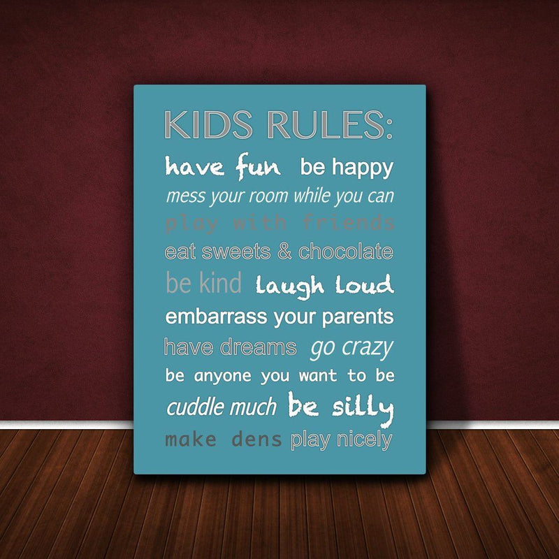 Feel Good Art 12 x 8 x 1.5-Inch A4 Thick Solid Front Panel Kids Rules Box Canvas, Teal