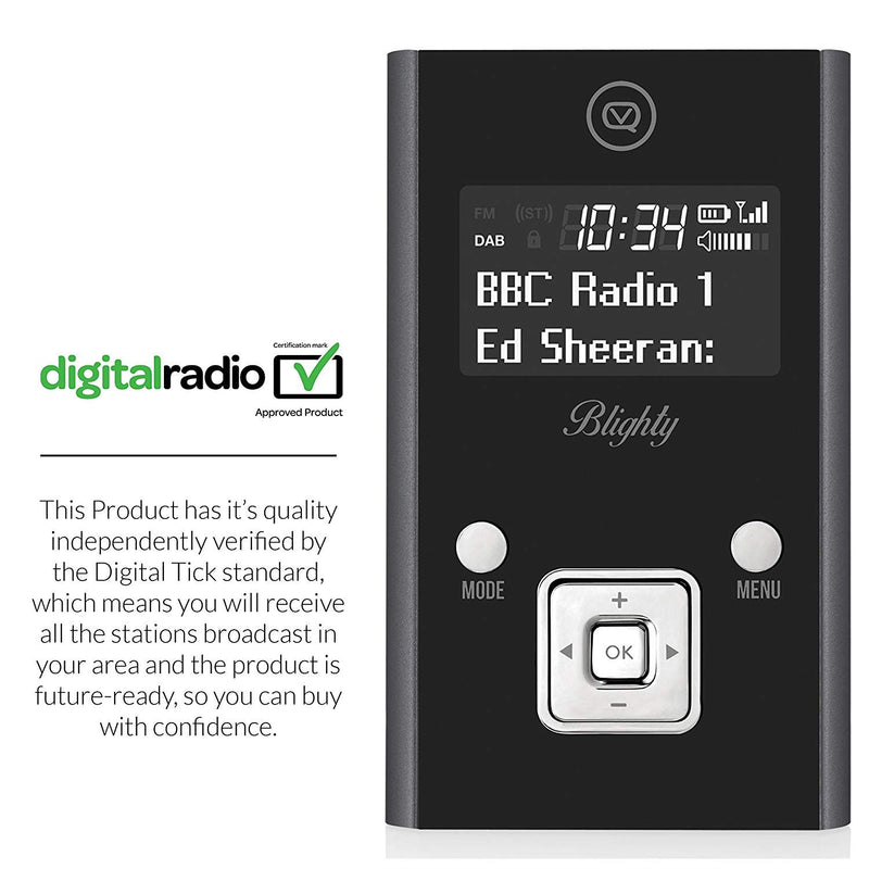 VQ Blighty DAB & DAB+ Pocket Digital Radio with FM, Headphones & USB Charge Cable Included – Black