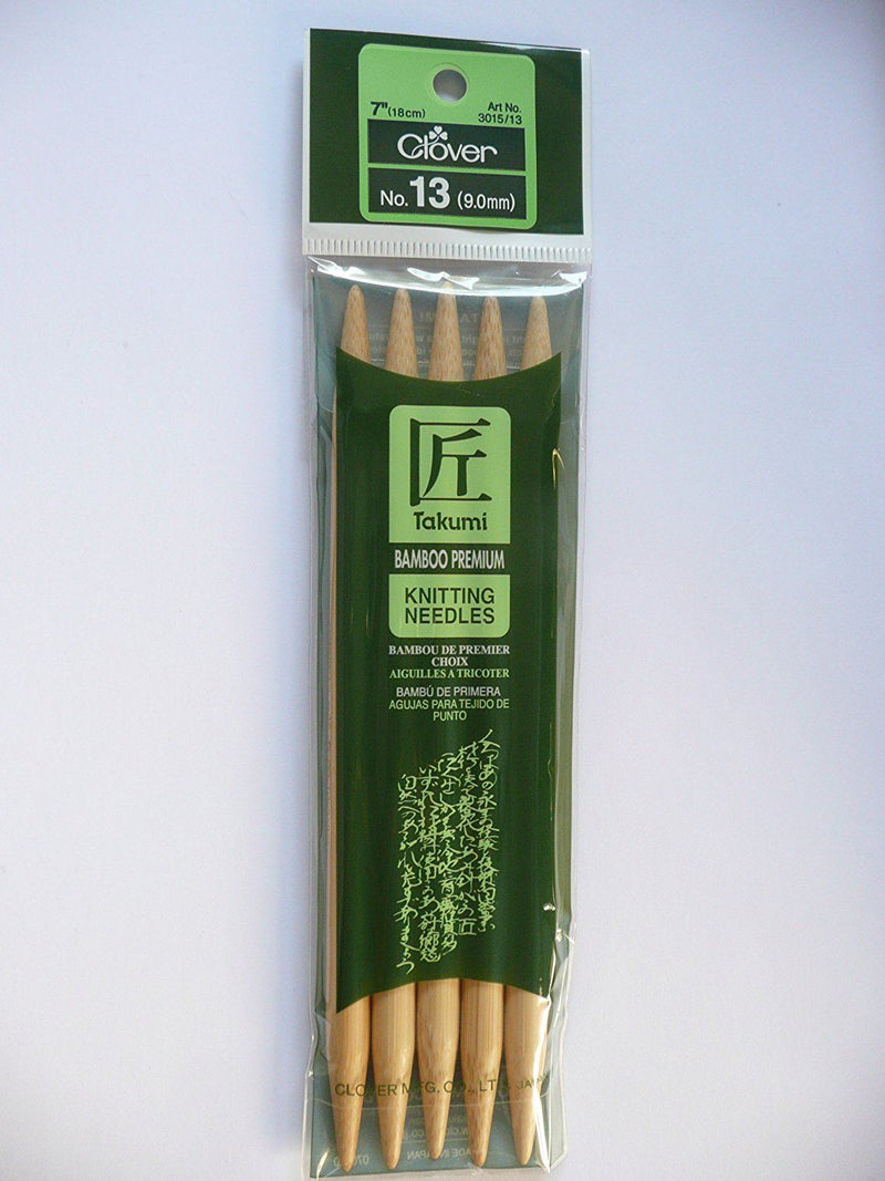 Clover 7-inch Takumi Bamboo Double Point Knitting Needles-Size 13/9mm, Pack of 5