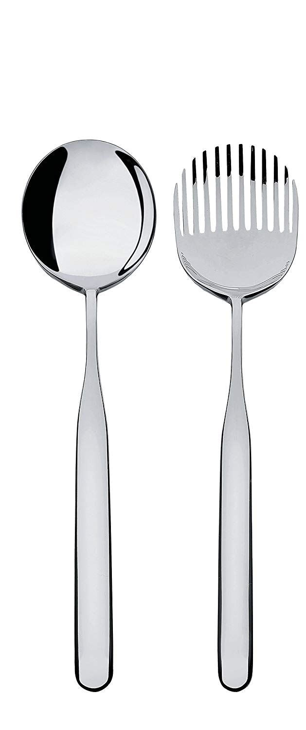 Alessi'Collo-alto' Salad Set in 18/10 Stainless Steel Mirror Polished, Silver