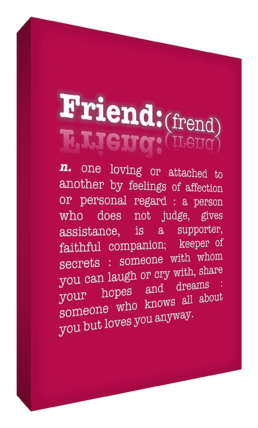 Feel Good Art 12 x 8-inch A4 Small Modern Typographic Dictionary Description of Friend Thick Box Canvas, Raspberry Red