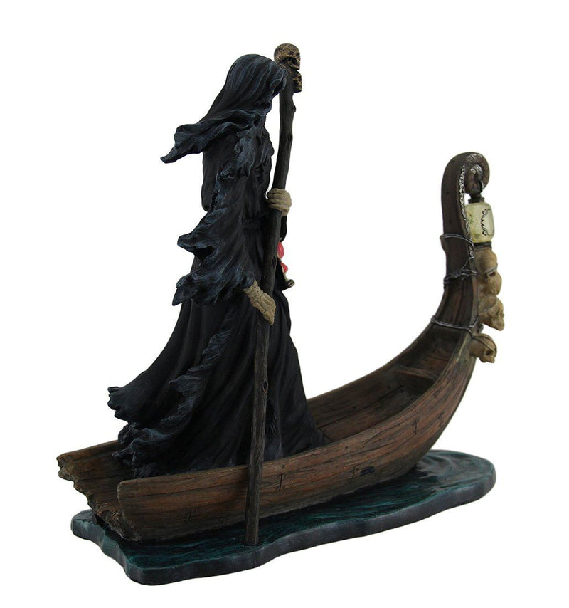 Nemesis Now Veronese Resin Statues Charon Ferryman Of The Dead Propelling Boat Statue W/Led Lantern 10 X 10 X 4 Inches Black