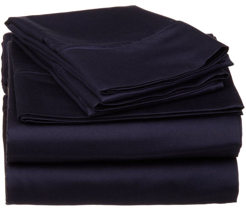 Impressions 530 Thread Count Sheet Set, Egyptian Cotton, Navy Blue, King, 4-Piece