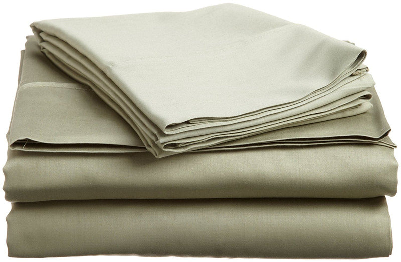 100% Premium Long-Staple Combed Cotton 400 Thread Count Long Single/Ikea Single 3-Piece Sheet Set, Solid, Sage
