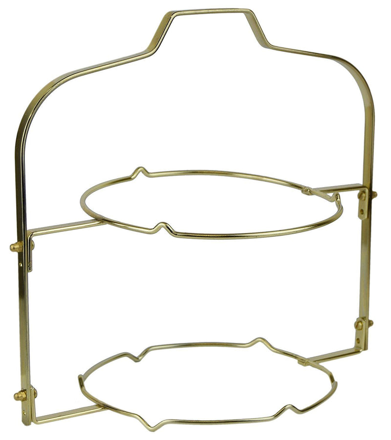 White Rabbit 2 Tier Tea Room Folding Plate Cake Stand - 27cm - Brass