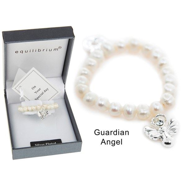 Equilibrium Fresh Water Pearl Guardian Angel Bracelet Childrens