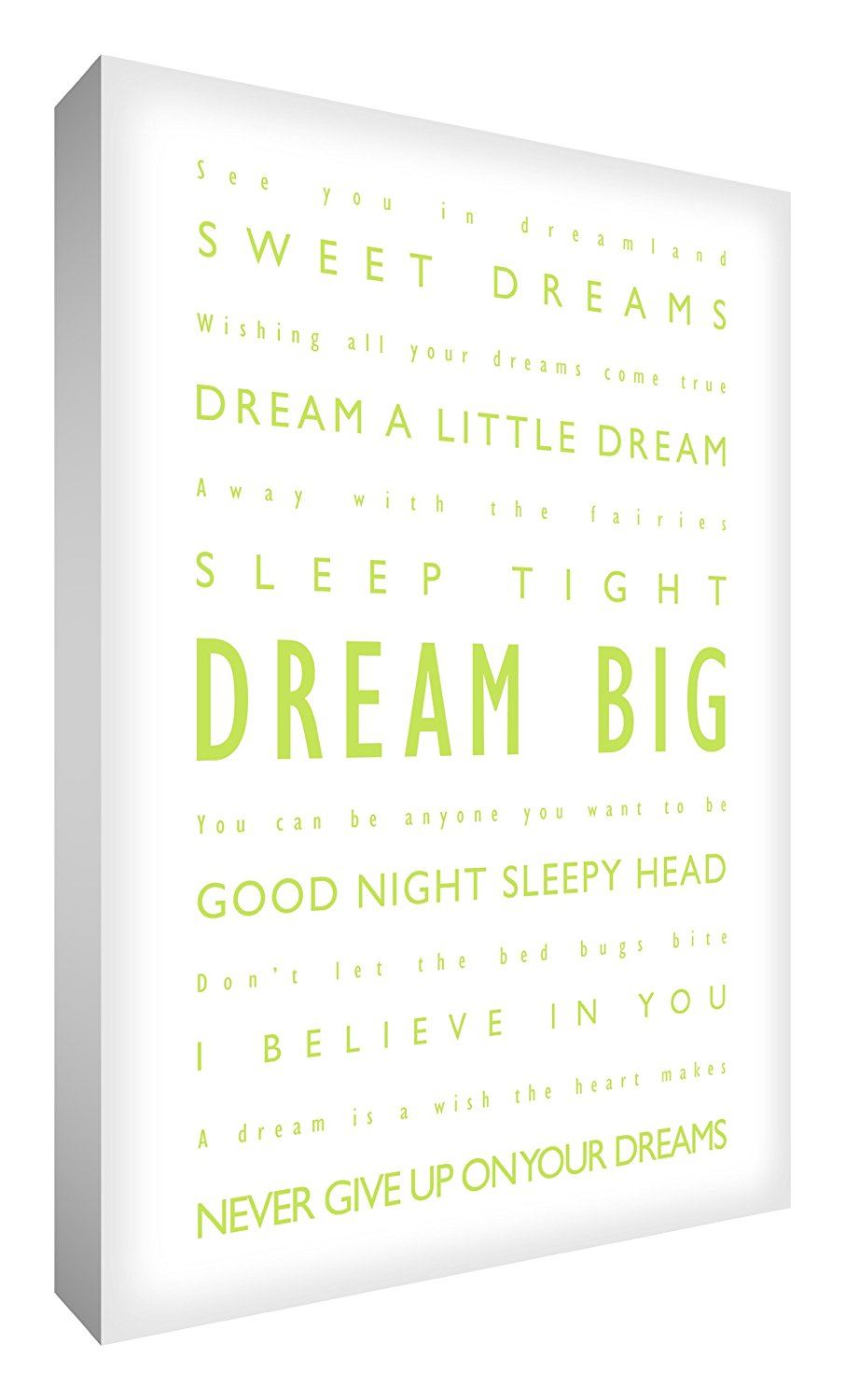 Feel Good Art 36 x 24-inch Dream Big A1 Modern Typographic Thick Box Canvas, Lime Green on White