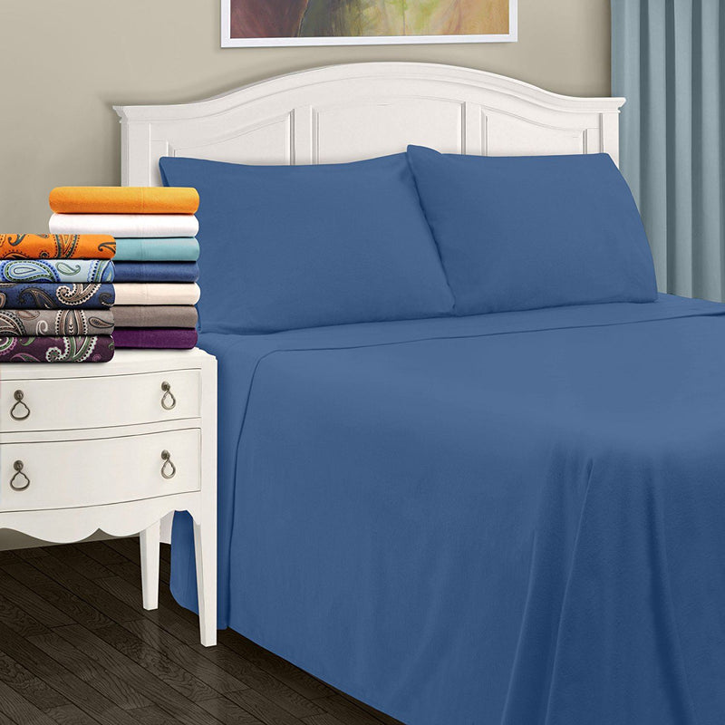 Impressions Solid Flannel Sheet Set, Cotton, Navy Blue, Twin XL