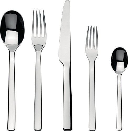 Alessi'Ovale' Flatware Set Composed Of One Table Spoon, Table Fork, Table Knife, Dessert Fork, Tea Spoon in 18/10 Stainless Steel Mirror Polished, Silver