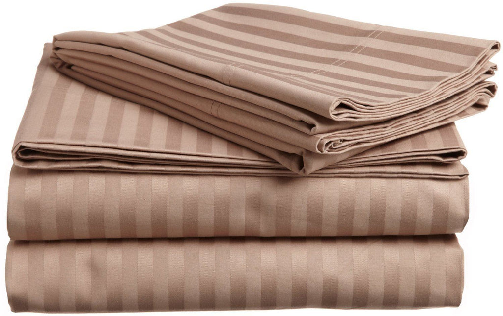 100% Premium Long-Staple Combed Cotton 650 Thread Count Twin XL 3-Piece Sheet Set, Deep Pocket, Single Ply, Stripe, Taupe