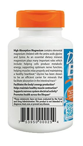 Doctor's Best High Absorption 100% Chelated Magnesium 120 Tablets