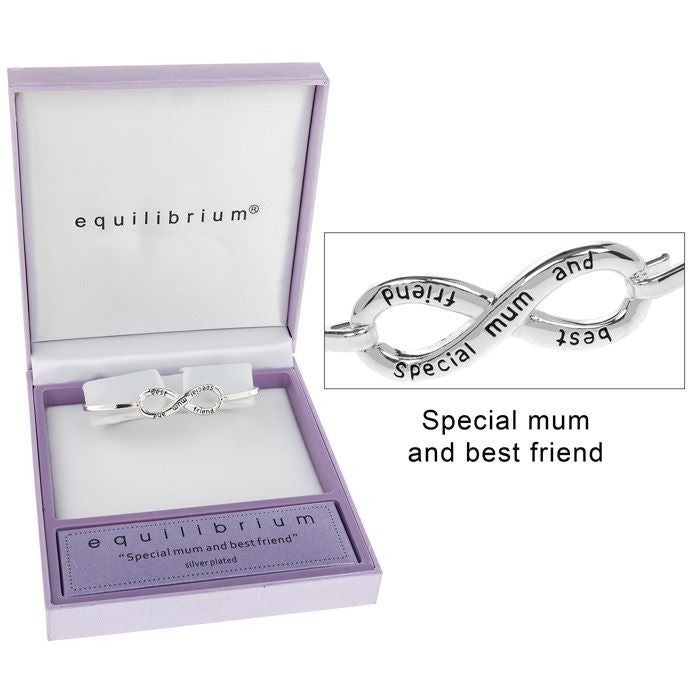 Equilibrium Silver Plated Infinity Bangle - Special Mum & Best Friend