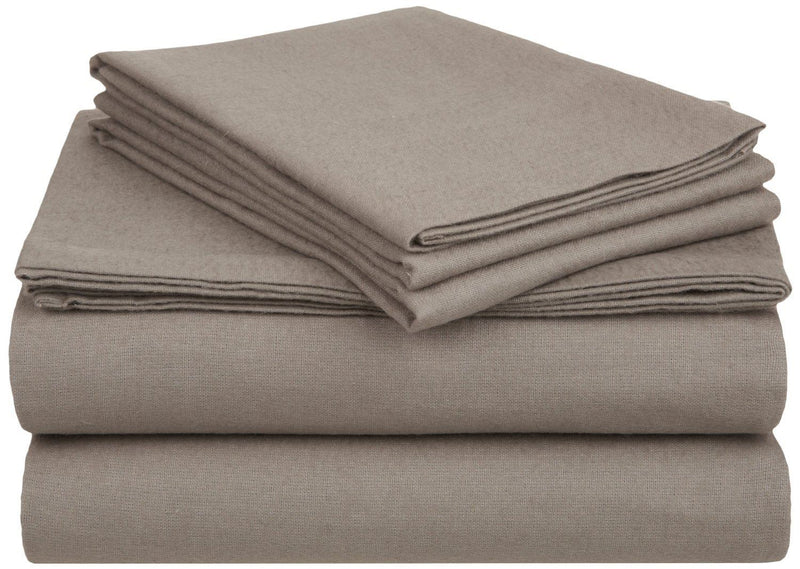 Impressions Solid Flannel Sheet Set, Cotton, Grey, Twin XL