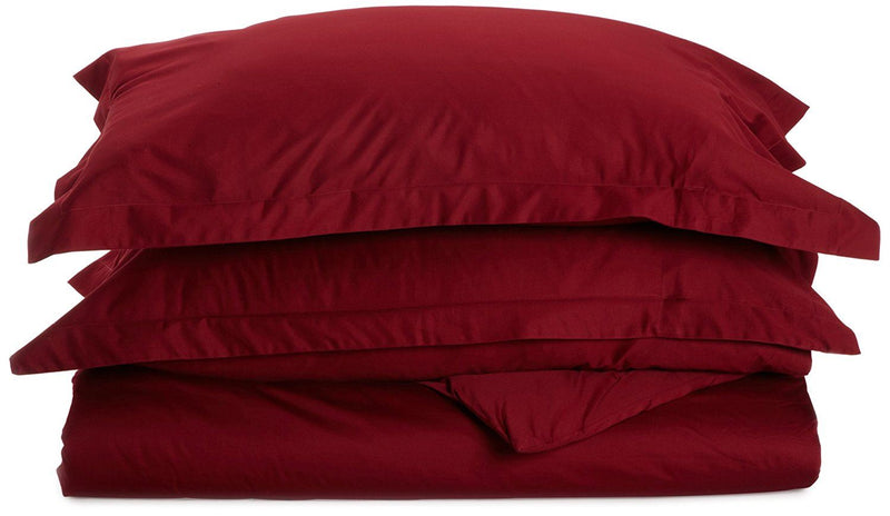 Impressions 530 Thread Count Single Ply Twin Duvet Cover Set, Egyptian Cotton, Burgundy