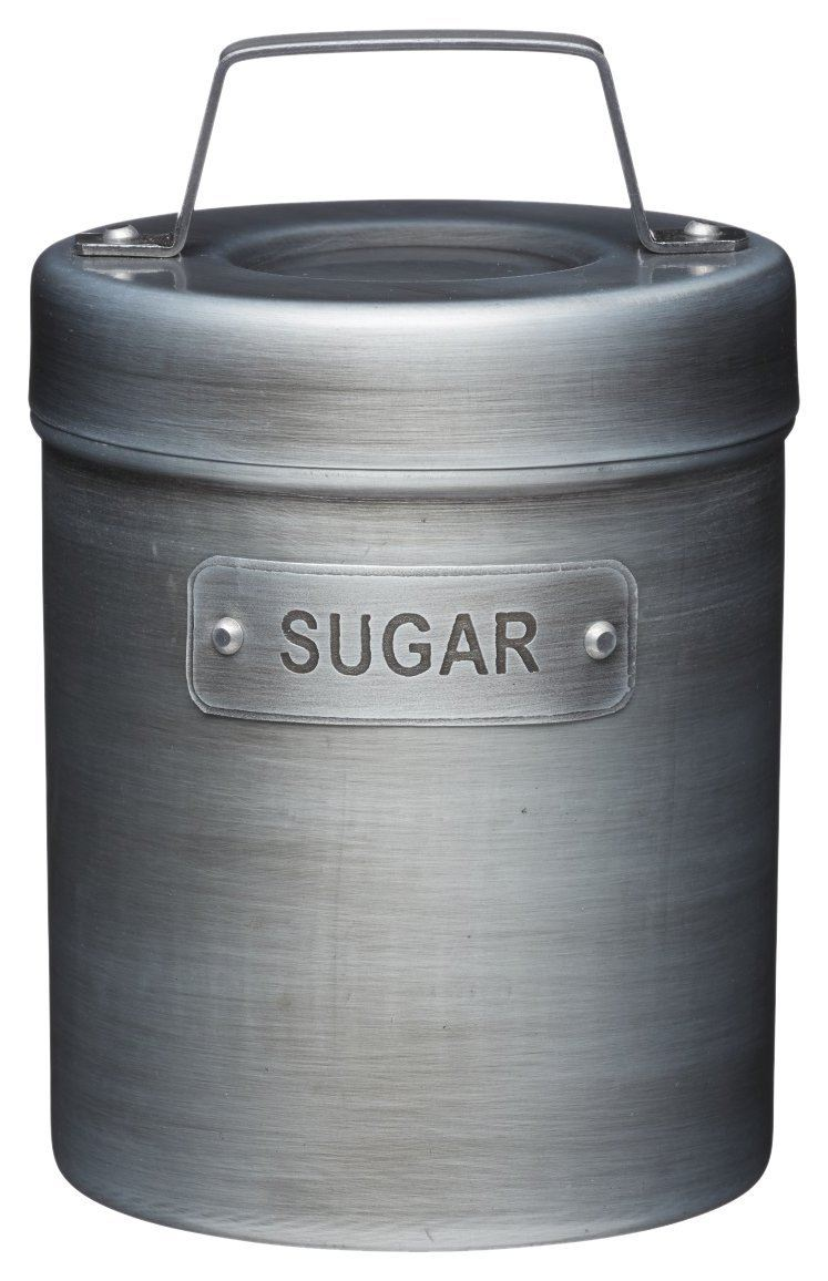KitchenCraft Industrial Kitchen Vintage-Style Metal Sugar Container, 1 L (1.75 pts)