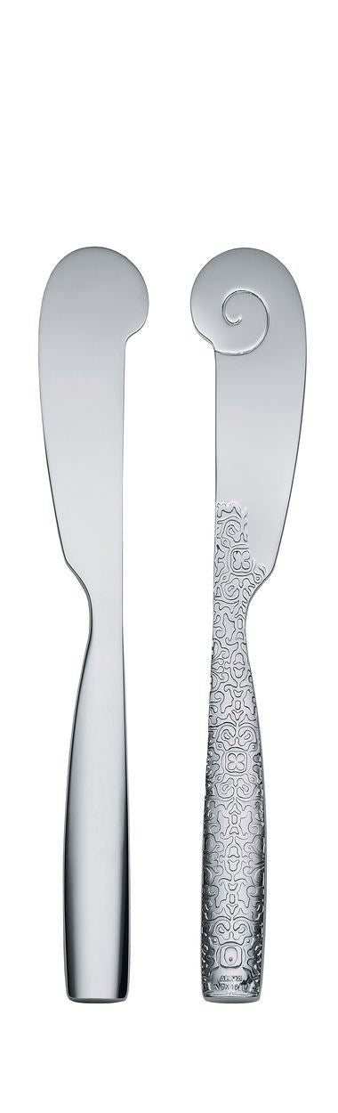 Alessi MW03/37S4, Set4 Dressed Butter Knives, Set of 4, Silver