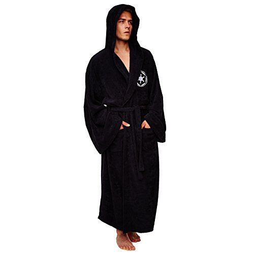 Star Wars Galactic Empire Adult Fleece Hooded Robe Dressing Gown, Black, One Size