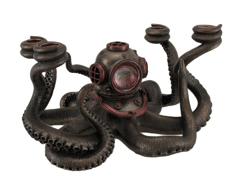 Nemesis Now Veronese Resin Candelabras Incredibly Cool Steampunk Diver Octopus 4 Candle Candelabra 11.5 X 6.5 X 9.5 Inches Black