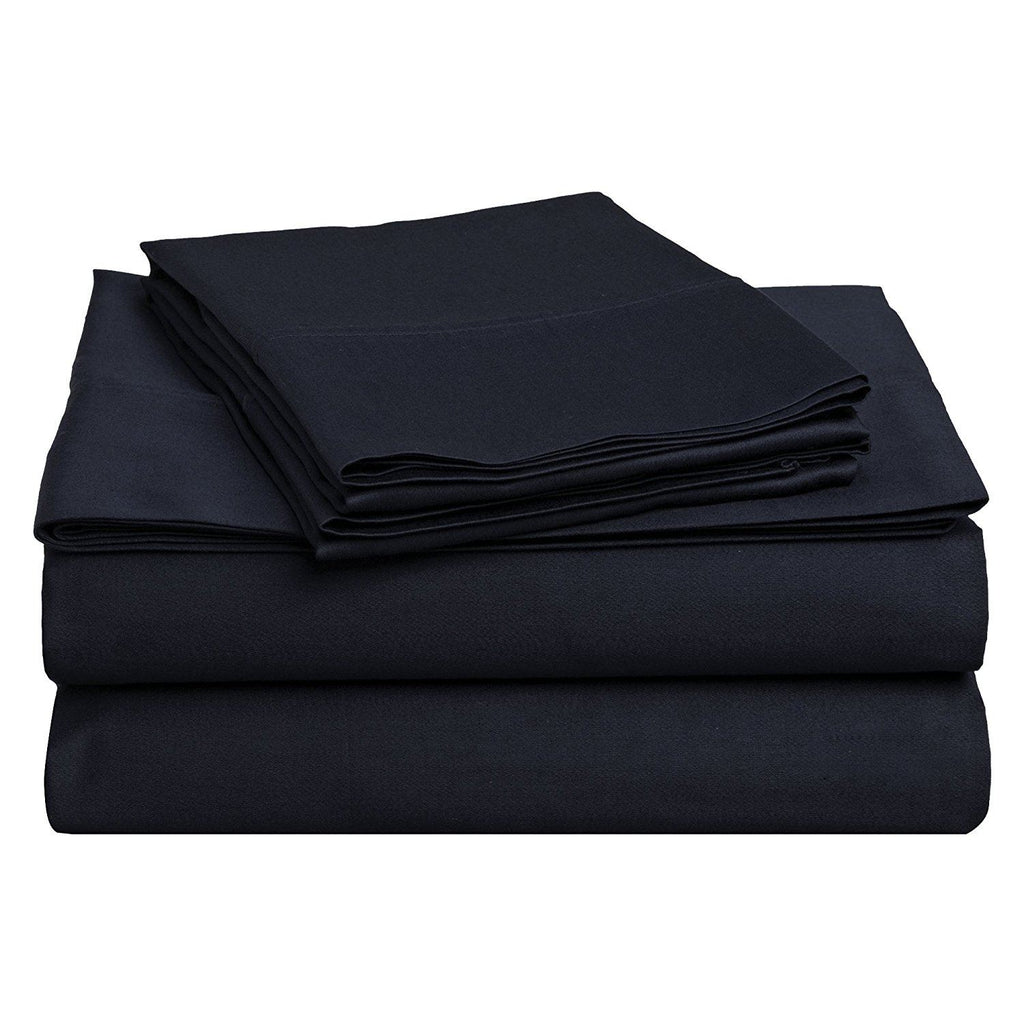 100% Premium Long-Staple Combed Cotton 400 Thread Count Deep-Fitting Pocket Soft and Smooth 4 Piece Sheet Set, King, Solid Navy Blue