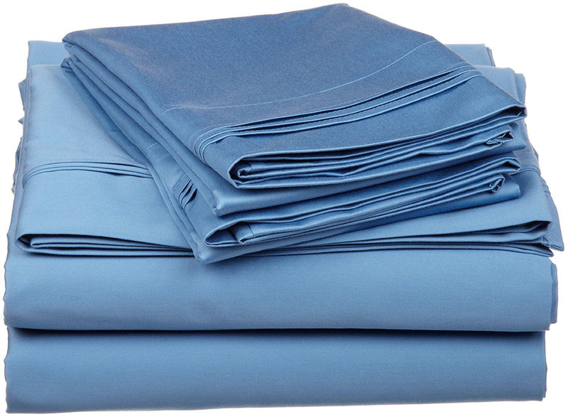 100% Premium Long-Staple Combed Cotton 650 Thread Count, Split King 5-Piece Sheet Set, Deep Pocket, Single Ply, Solid, Medium Blue