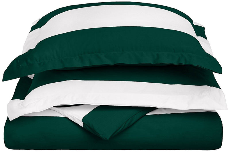 Impressions 600 Thread Count Kids Wrinkle Resistant  Duvet Cover Set in Cabana Stripe, Cotton Blend, Hunter Green, Twin, 2-Piece