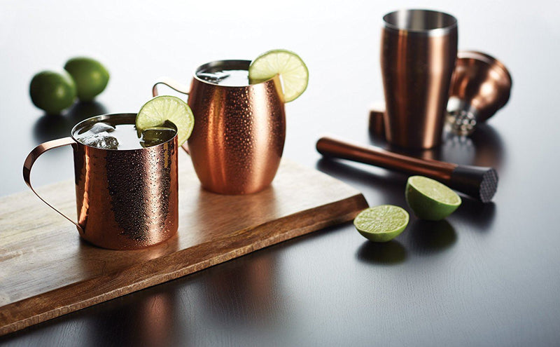 Bar Craft Luxe Lounge 550 ml Hammered Stainless Steel Moscow Mule Mug, Copper