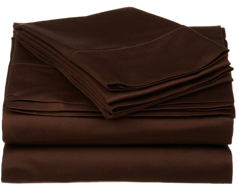 Impressions 530 Thread Count Sheet Set, Egyptian Cotton, Chocolate, Queen, 4-Piece