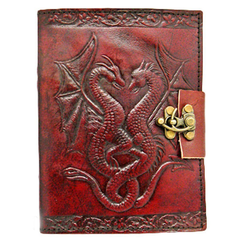 Nemesis Now Double Dragon  Leather Journal With Lock 20cm Brown