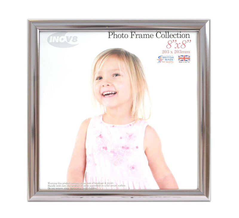 Inov8 British Made Traditional Picture/Photo Frame, Square 8x8-inch, Value Chrome