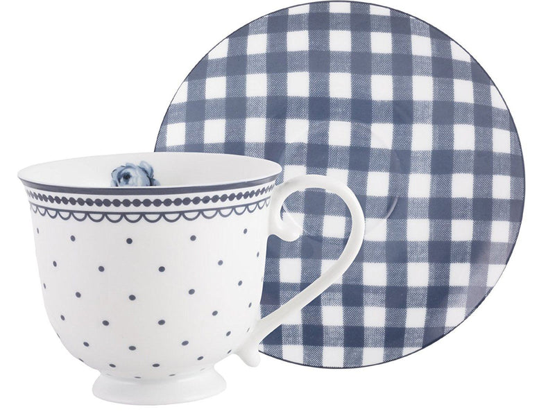 Katie Alice Vintage Indigo Spot Cup and Gingham Saucer, Porcelain, Purple, 2-Piece