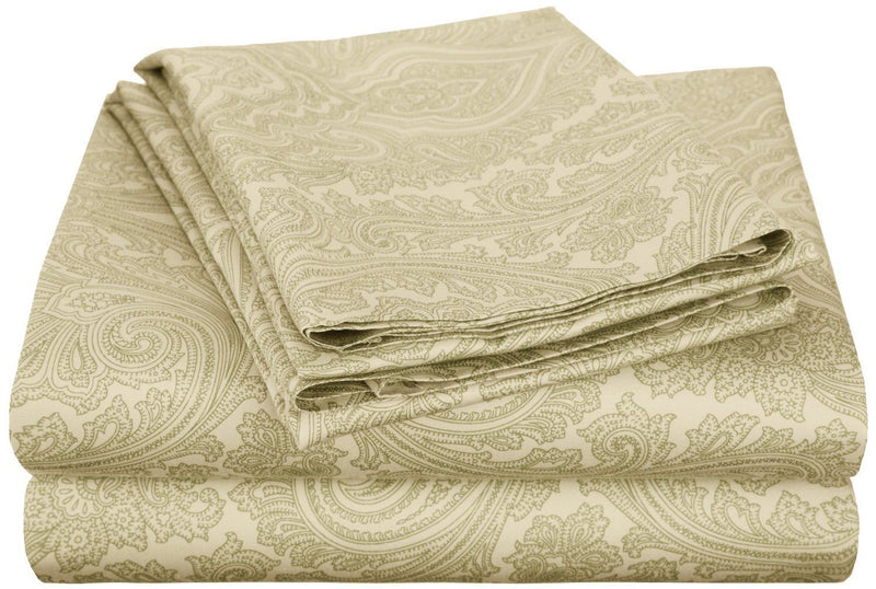 Impressions 600 Thread Count Deep Pocket Soft Wrinkle Resistant Bed Sheet Set in Paisley Pattern, Cotton Blend, Sage, Full Size, 4-Piece