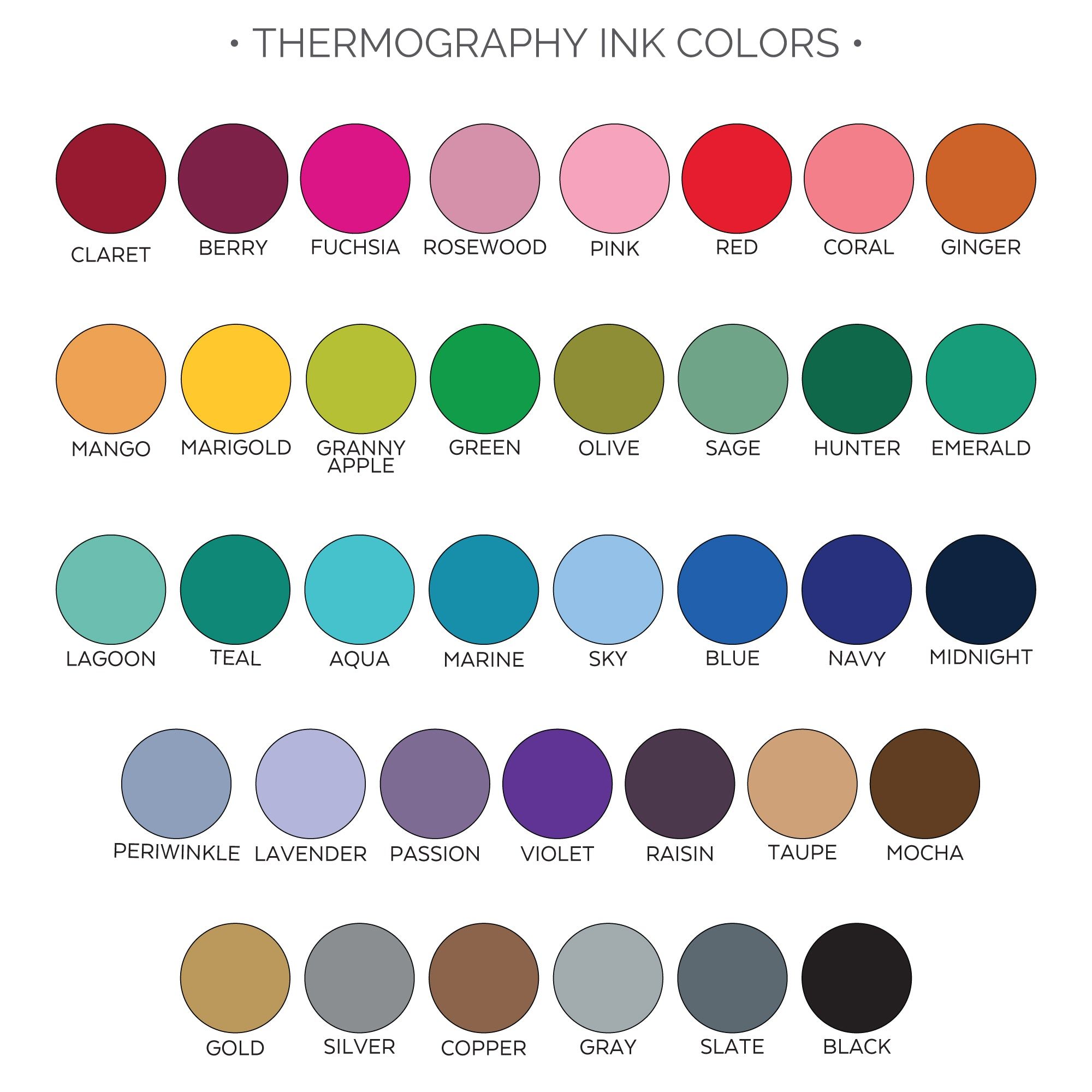 thermography ink colors