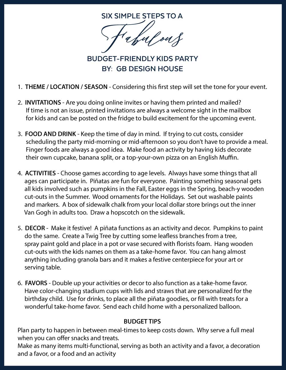 six steps to hosting a budget kids party