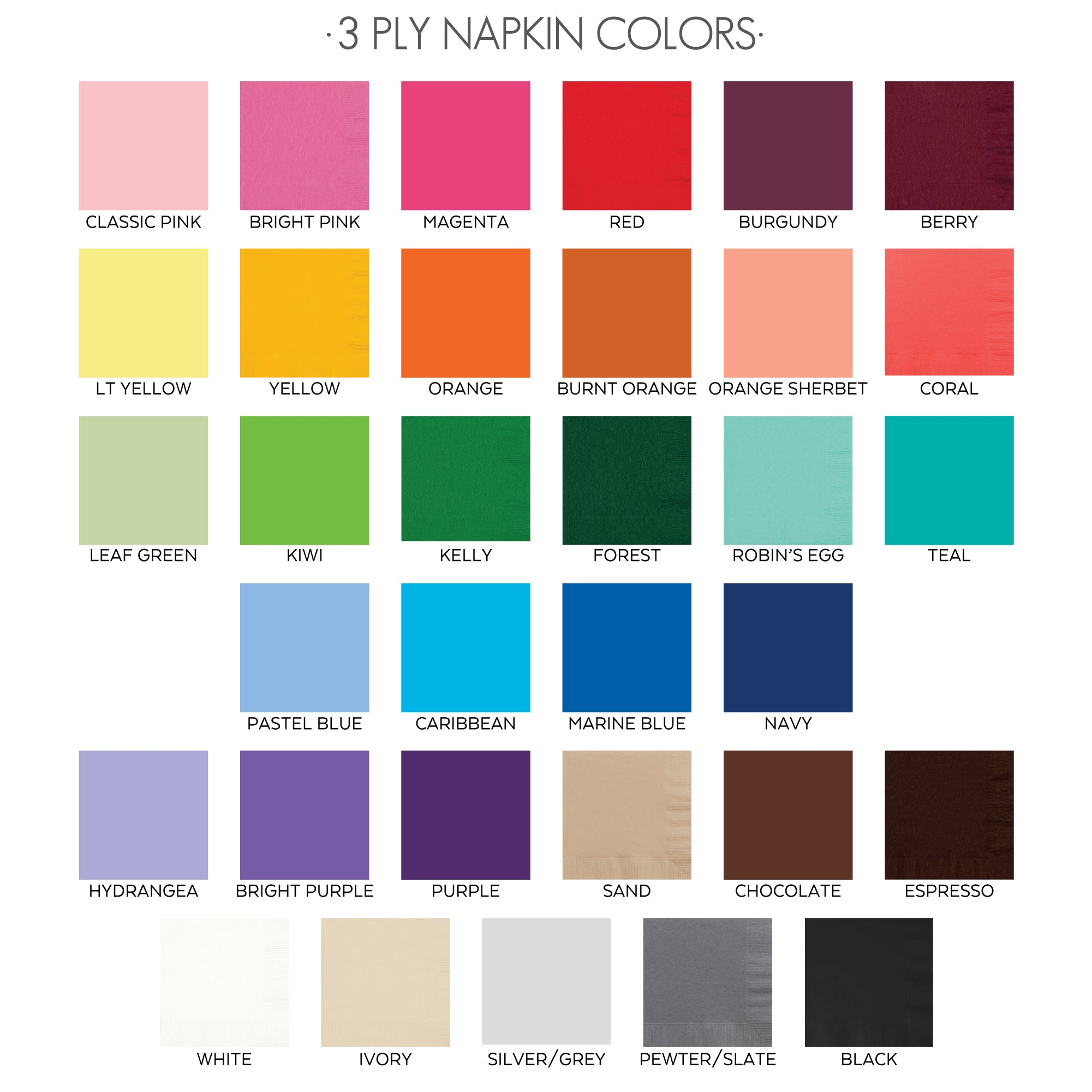 3ply Napkin colors