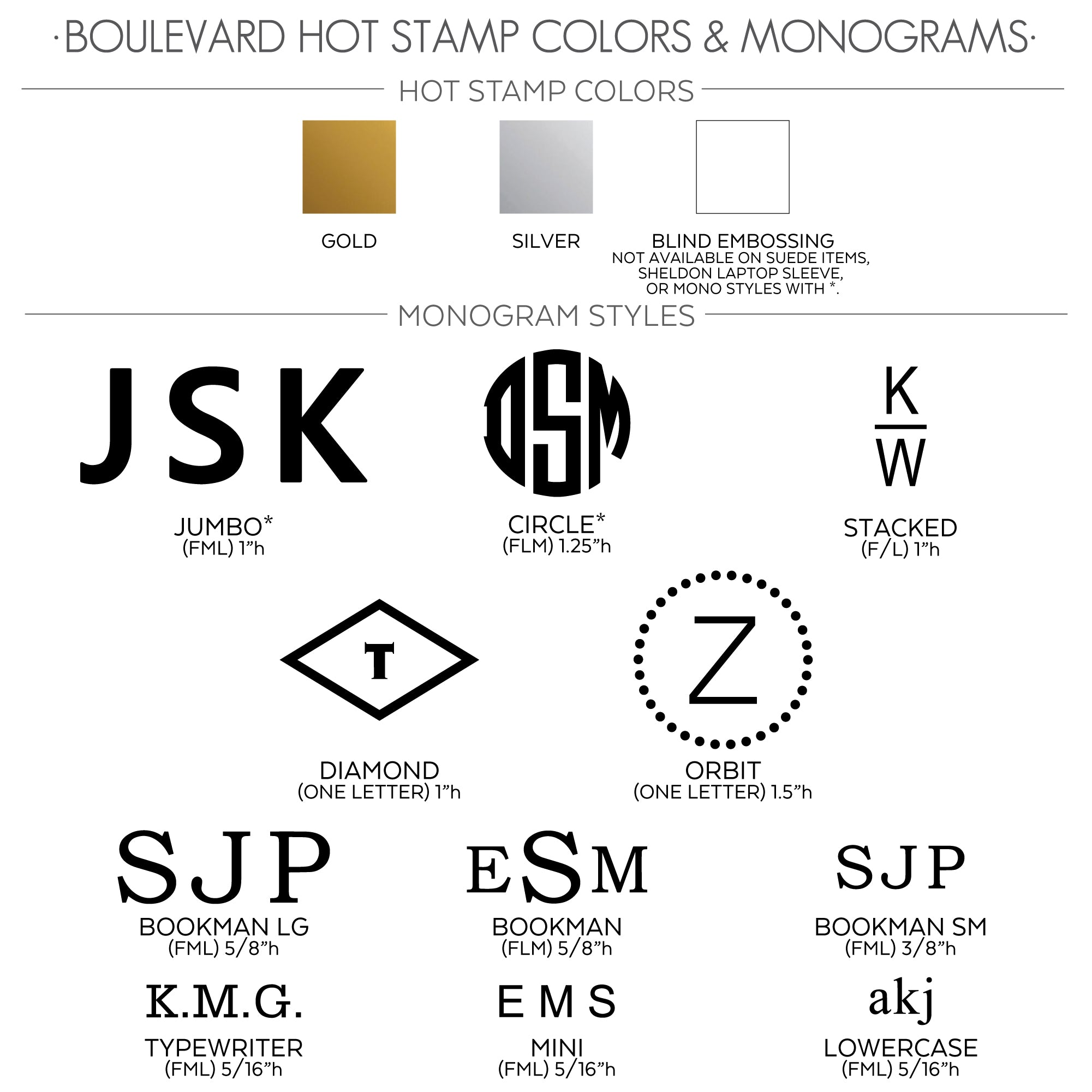 BLVD HOT STAMP OPTIONS