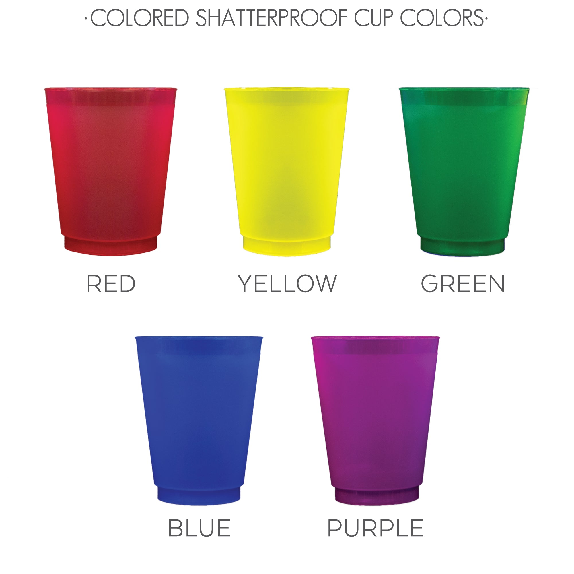 Colored Shatterproof Cup Colors