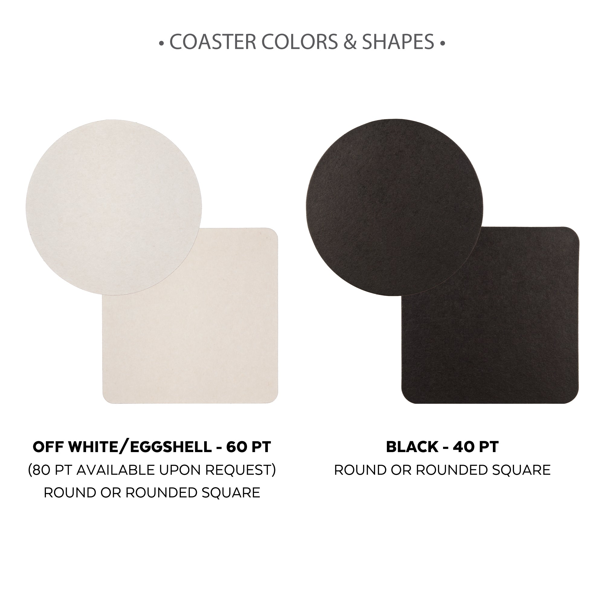 coaster shapes and colors