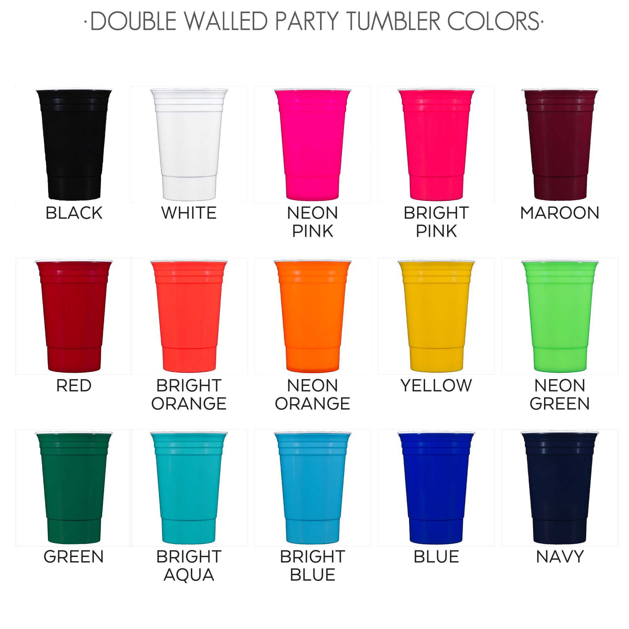 double walled party tumbler colors