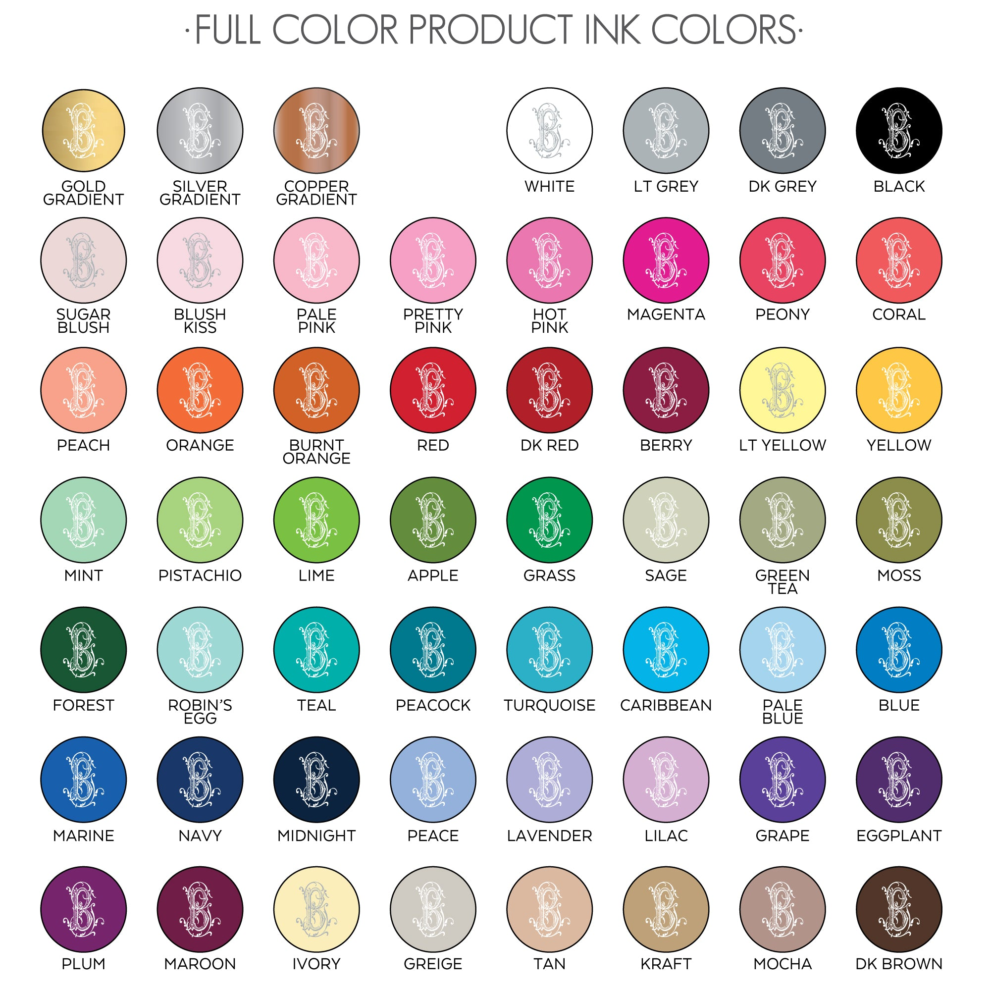 full color ink sheet