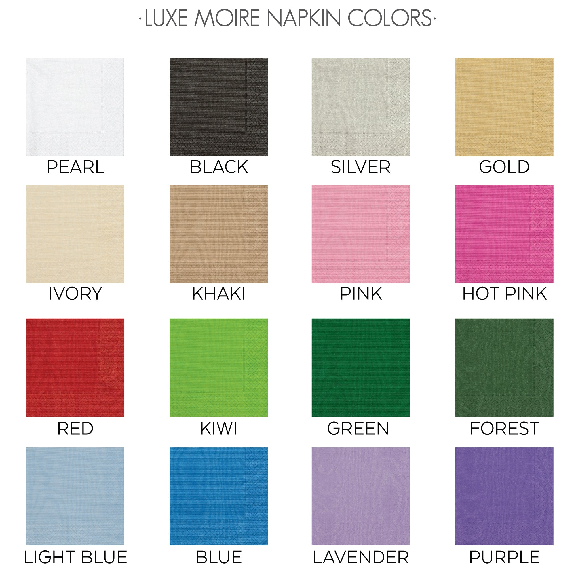 Luxe Moire Napkin Colors