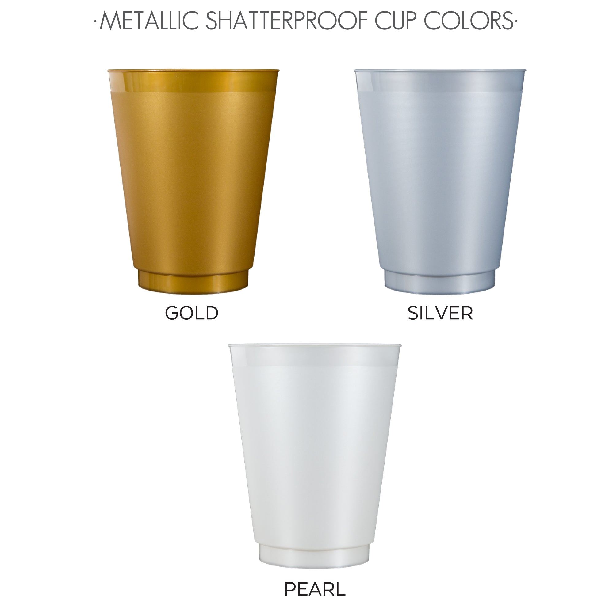 metallic shatterproof cup colors